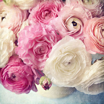 """shabby chic home decor, """"shades of pink"""", Ranunculus flowers, still life, floral photography"""
