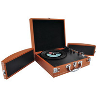 Pyle Pvttbt8Br Bluetooth(R) Classic Vinyl Record Player Turntable With Fold-Out Speakers & Vinyl-To-Mp3 Recording (Brown)