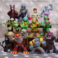 12 Pcs set TMNT action figure toys 4-7cm Teenage Mutant Ninja Turtles 2 Bebop Shredder PVC model dolls for kids Christmas gift
