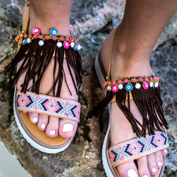 Genuine leather sandals with suede leather fringes & evil eyes