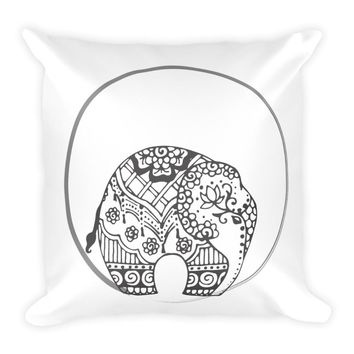 Henna Elephant Indian Design Throw Pillow 18 x 18 Filled Boho Chic Decor