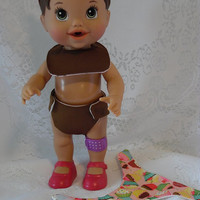 Two Waterproof Diapers and One Bib Set for Baby Alive, Reusable, Eco-Friendly, Ready to Ship