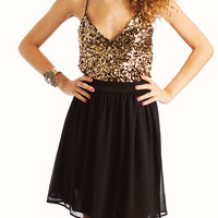 sequined-two-fer-dress GOLDBLACK - GoJane.com