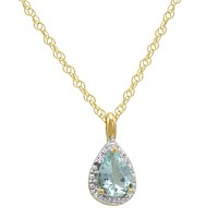 "14K Yellow Gold Pear Aquamarine Pendant (2/3ct. 18"" chain)"