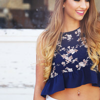 Floral On My Mind Ruffle Crop