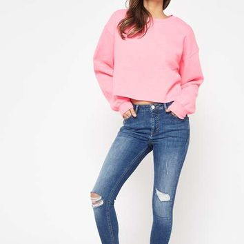 Bright Pink Cropped Sweatshirt