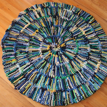 T Shirt Rag Rug Baby Blue Circular Navy Royal Sky Gray Yellow Green Upcycled Modern Cottage Country 46in diameter -US Shipping Included