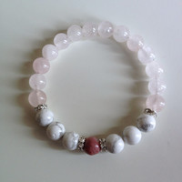 Help to Release Anger ~ Genuine Rhodonite, White Howlite & Rose Quartz Bracelet w/ Swarovski Crystal Spacers