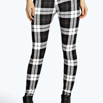 Lola Monochrome Check Printed Leggings