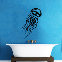 Jellyfish Wall Decal Scuba Tentacles Deep Sea Ocean Fish Wall Decals Vinyl Sticker Interior Home Decor Vinyl Art Wall Decor Bedroom SV5821
