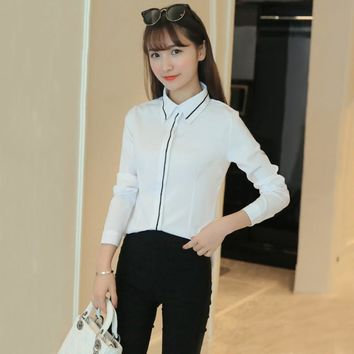 Korean Style Ladies Office Work Wear Blouse Autumn Women Fashion Elegant Ruffles Long Sleeve White Blusas Bodysuit Shirt