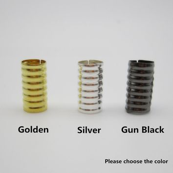 60Pcs/Lot Golden/Silver/ Gun black 8/16mm hair dread Dreadlock Beads adjustable cuffs clips approx 7mm hole