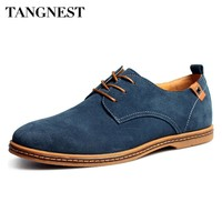 Tangnest Luxury Brand Men Oxfords Shoes 2017 New Men Lace Up Fur Flats Male Suede Leather Dress Shoes Man Big Size 38-48 XMR352