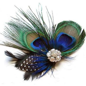 Feather Headband Vintage Peacock Hair Clips Women Summer Style Hair Clips For Girls Diadema Pelo Muje#121