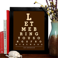 Ian Anderson, Let Me Bring You Songs From The Wood, Eye Chart, 8 x 10 Giclee Art Print, Buy 3 Get 1 Free