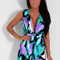 Rarirt Luxe Blue & Purple Tropical Print Plunge Playsuit | Pink Boutique