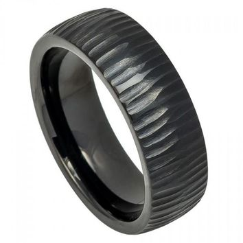 8mm Black Tungsten Wedding Band Semi Domed Ring with Tree Bark Carved Textured Finish