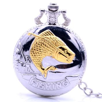 Steampunk Antique Silver Gold Fishing Quartz Pocket Watch Retro Necklace Chain Pendant Mens Womens Gift relogio de bolso