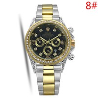 Rolex Fashion New Metal Watchband Diamond Round Shell Business Casual Couple Wristwatch Watch