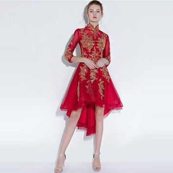 Girls Three Quarter Sleeve Embroidery Prom Gowns High Low Party Dresses Formal Dresses