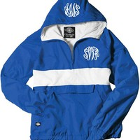 Monogrammed Royal and White Pullover Rain Jacket