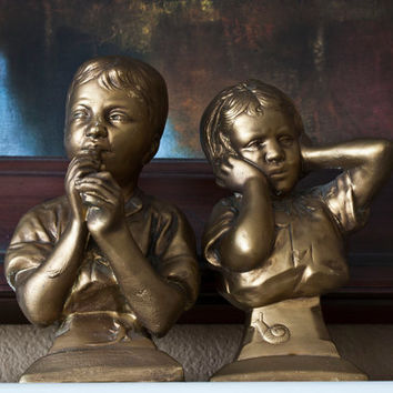 Vintage Bust Bookends, Humorous Music Lessons, Boy Playing Flute Girl Covering Ears, E Vilianis, Esco Products, Chalkware