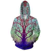 Harajuku Style Trip Tree Zip-Up Hoodie bright Scenery 3d hoodies Zipper Outerwear Tracksuits Women/Men Casual Hooded Sweatshirt
