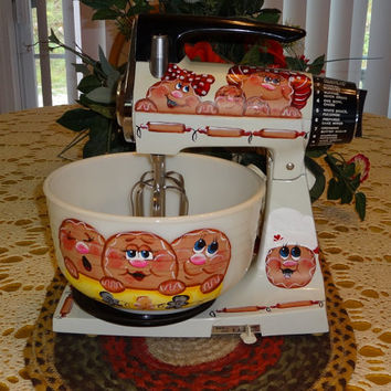 Vintage 70's Sunbeam Stand Mixer With Hand Painted Gingerbread Bowl,, Gingerbread Decor, Kitchen Decor, Vintage Decor,,