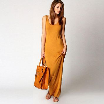 2018 Summer New Fashion Basic Vest long Dress Women Back Split Dress Elegant sexy Sleeveless Vest Tanks Slim Strap Party Dresses