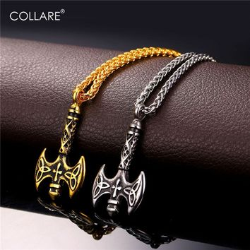Collare Viking Axe Cross Pendant Stainless Steel Triple Horn Of Odin Men Jewelry Gold Color Christian Necklace Women P135