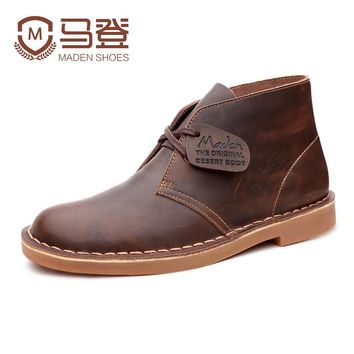 Maden Brand 2017 Genuine Leather Men Ankle Boots British Style Top Quality Martin Boots Desert Tooling Boots Botas Hombre