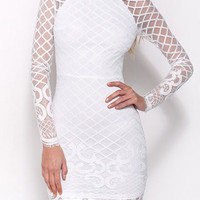 White Long Sleeve Lace Details Bodycon Mini Dress