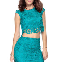 Teal and Timeless Lace Crop Top
