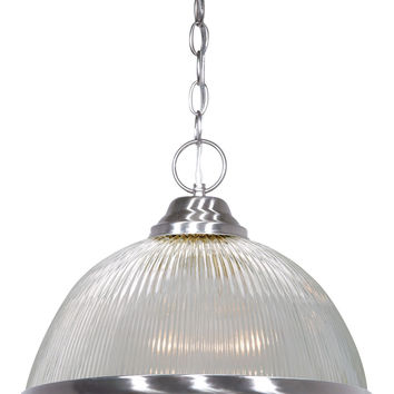 """15"""" Brushed Nickel Pendant Light Fixture with Clear Prismatic Dome"""