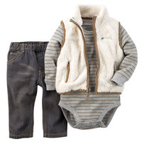 3-Piece Sherpa Vest Set