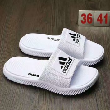 """Adidas"" Fashion Casual Comfortable Sandals Shoes Men Coconut Slippers White G-AHXF  QF"