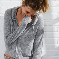 Aerie Snit Crop Hoodie , Dark Heather