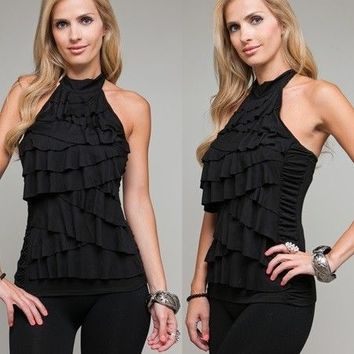 "SeXY WoMeNS ToP BLouSe HaLTeR RuFFLeD TieReD RuCHeD HiGH tuRTLe NeCK ""XS,S,M,XL"""