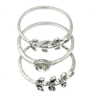 Clear 3 Pc Metal Wreath Knuckle Ring