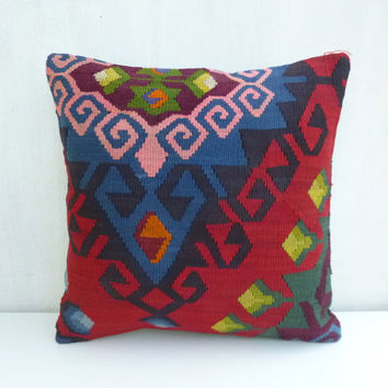 Red Colorful Kilim Pillow