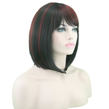 Short High Temperature Fiber Hair Cosplay Wigs Synthetic Hair Heat Resistant BOBO Wig Black Mix Red Straight Hair
