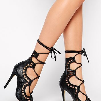 Windsor Smith Gillie Tie Up Peep Toe Shoe
