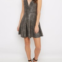 Gold Fleck V-Neck Party Dress | Party Dresses | rue21