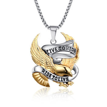 Fashion Eagle Necklace Pendants LIVE TO RIDE Biker Sport Men Gold Plated Stainless Steel Hero Jewelry