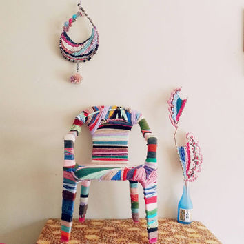 Room Décor, Kid's chair, Textile Art, Nursery Room Decor, Children's Furniture, Furniture, Bohemian Decor, Yarn Bomb, Abstract Art, Home