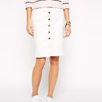 Current Elliott Dorothy Button Up Denim Pencil Skirt