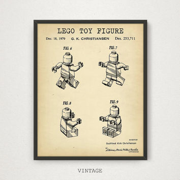 LEGO Patent Printable, Lego Toys, Lego Poster, Lego Man Print, Kids Room Wall Art, Nursery Decor, Digital Download, Blueprint, Chalkboard