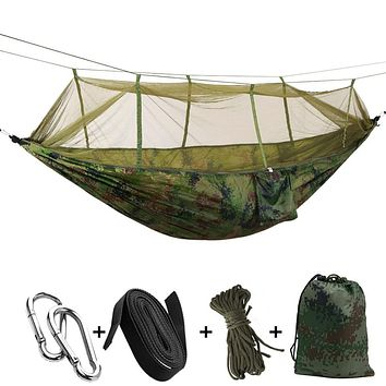 Ultralight Camping & Hunting 2 Person Parachute Hammock with Mosquito Net