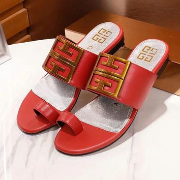 GIVENCHY Newest Fashionable Women Comfortable Leather Sandals Slipper Shoes Red