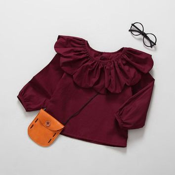 Girls Shirts Flower Collar Baby Girl's Outfits Wine Red Girls Kids Tops Infant Solid Clothing Toddler Children Spring Clothes